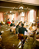 USA, Utah, group of friends having breakfast at the Rustler Lodge, Alta Ski Resort