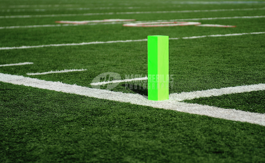 Nov. 27, 2009; Las Vegas, NV, USA; Detailed view of an endzone pylon on the field during the game between the Las Vegas Locomotives against the Florida Tuskers during the UFL championship game at Sam Boyd Stadium. The Locomotives defeated the Tuskers 20-17 in overtime. Mandatory Credit: Mark J. Rebilas-