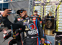Sep 16, 2018; Mohnton, PA, USA; NHRA top fuel driver Antron Brown during the Dodge Nationals at Maple Grove Raceway. Mandatory Credit: Mark J. Rebilas-USA TODAY Sports