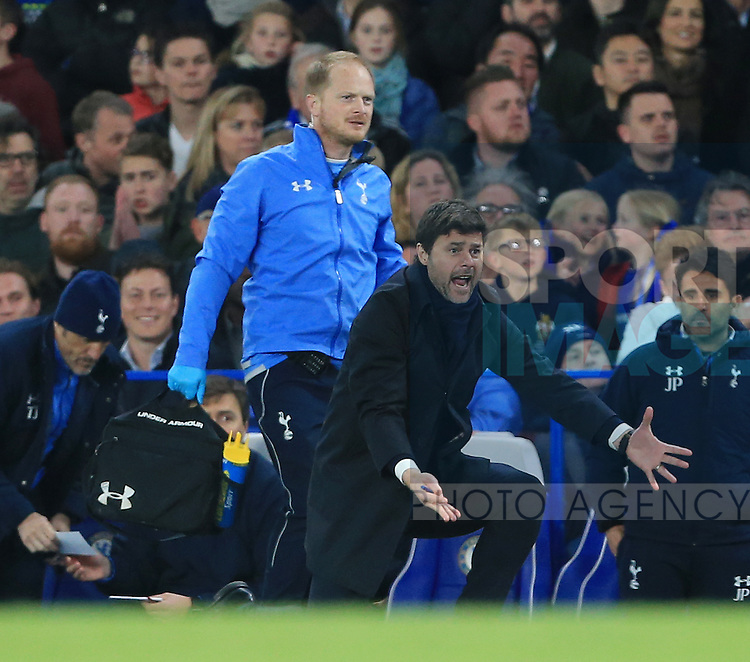 Tottenham's Mauricio Pochettino in action during the Barclays Premier League match at Stamford Bridge Stadium.  Photo credit should read: David Klein/Sportimage