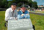 OPENING OF HEALY-RAE PARK 20-6-03<br />Deputy Jackie Healy-Rae and his son Michael, who is Mayor of Kerry, unveil the controversial plaque at the opening of the Kilgarvan Housing Estate named in their honour in Kilgarvan, County kerry on Friday.<br />Picture by Don MacMonagle