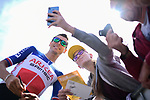 Newly crowned French Champion Warren Barguil (FRA) Team Arkea-Samsic with fans at sign on before Stage 4 of the 2019 Tour de France running 213.5km from Reims to Nancy, France. 9th July 2019.<br /> Picture: ASO/Alex Broadway | Cyclefile<br /> All photos usage must carry mandatory copyright credit (© Cyclefile | ASO/Alex Broadway)