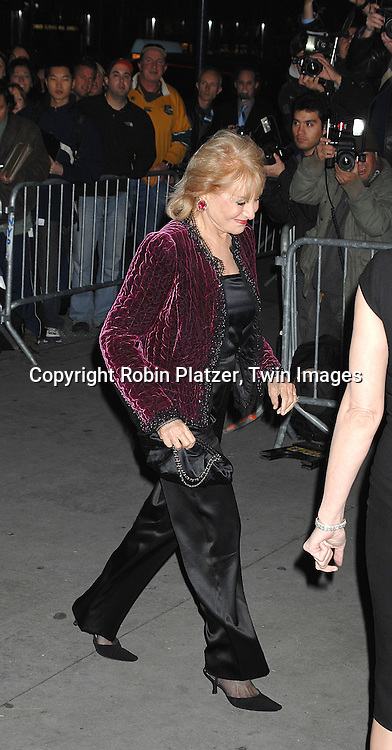 Barbara Walters..arriving at The Museum of the Moving Image 2007 Gala honoring Tom Cruise on November 6, 2007 at Cipriani's 42nd Street. ....Robin Platzer, Twin Images......212-935-0770