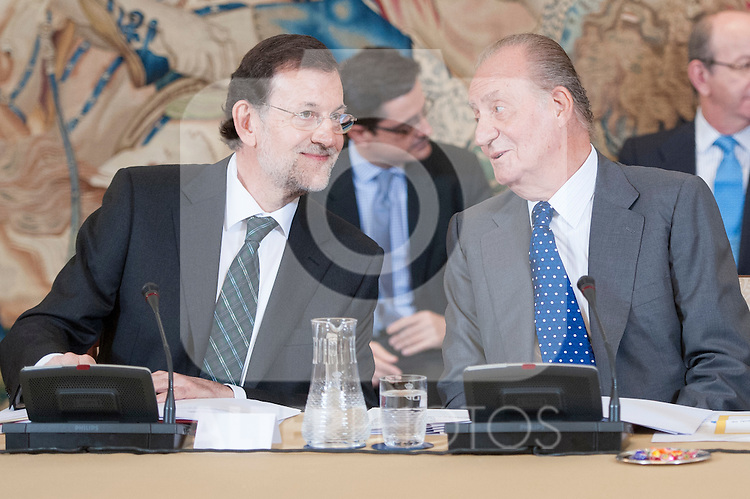 King Juan Carlos I of Spain attends the annual meeting of the board of the Carolina Foundation. In the picture King Juan Carlos I of Spain (on the right) with the Prime Minister Mariano Rajoy (on the left). July 10,2012.(ALTERPHOTOS/Ricky)