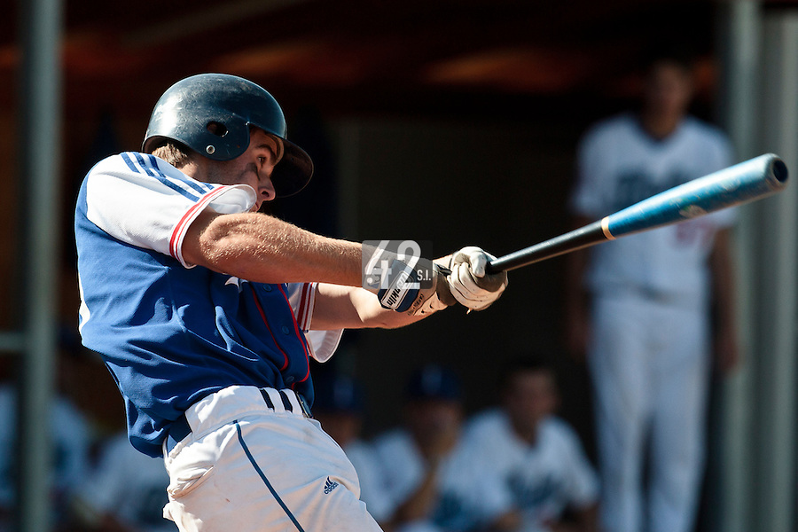 20 August 2010: Simon Vicente of Team France is seen at bat during France 6-5 win over Italy, at the 2010 European Championship, under 21, in Brno, Czech Republic.