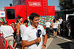 Eurosport's Juan Antonio Flecha (ESP) waits to talk to the riders at the end of Stage 12 of the 2017 La Vuelta, running 160.1km from Motril to Antequera Los D&oacute;lmenes, Spain. 31st August 2017.<br /> Picture: Unipublic/&copy;photogomezsport | Cyclefile<br /> <br /> <br /> All photos usage must carry mandatory copyright credit (&copy; Cyclefile | Unipublic/&copy;photogomezsport)