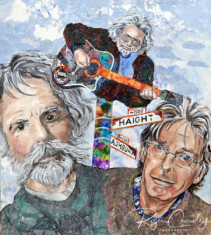 Kristina Applegate Lutes painting of the Grateful Dead (L/R Bob Weir, Jerry Garcia, Phil Lesh). Kristina uses Eric Carle's tissue art techniques as well as drawing and painting to create her artwork.