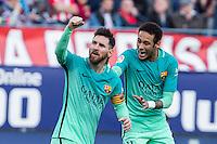 Leo Messi and Neymar Santos Jr of Futbol Club Barcelona celebrates after scoring a goal  during the match of Spanish La Liga between Atletico de Madrid and Futbol Club Barcelona at Vicente Calderon Stadium in Madrid, Spain. February 26, 2017. (ALTERPHOTOS) /NortEPhoto.com