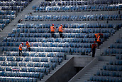 22nd August 2017, Volgograg, Russia; Construction workers installing seats in the grandstands of the Volgograd Arena in Volgograd, Russia, 22 August 2017. The city is one of the locations for the Russia 2018 FIFA World Cup.