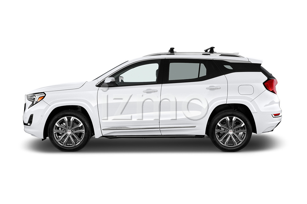 Car driver side profile view of a 2018 GMC Terrain Denali base 5 Door SUV