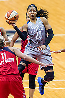 Washington, DC - Sept 17, 2017: Minnesota Lynx forward Maya Moore (23) glides through the air for a lay up during playoff game between the Mystics and Lynx at the Verizon Center in Washington, DC. (Photo by Phil Peters/Media Images International)
