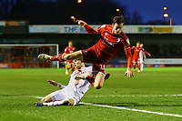Connor Wood of Bradford City tackles Ashley Nadesan of Crawley Town during Crawley Town vs Bradford City, Sky Bet EFL League 2 Football at Broadfield Stadium on 11th January 2020