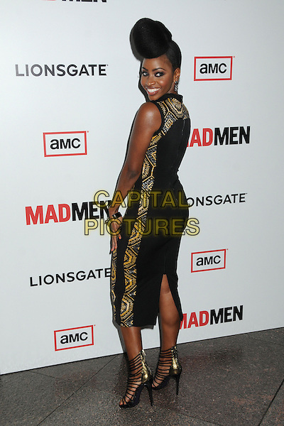 "Teyonah Parris.""Mad Men"" Season Six Los Angeles Premiere held at the Director's Guild of America, West Hollywood, California, USA..March 20th, 2013.full length dress open toe ankle strappy sandals shoes black yellow sleeveless hair up style quiff coif pattern embroidered back behind rear looking over shoulder side .CAP/ADM/BP.©Byron Purvis/AdMedia/Capital Pictures."