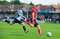 Lincoln City's Harry Anderson vies for possession with Gainsborough Trinity's Jamie Green<br /> <br /> Photographer Chris Vaughan/CameraSport<br /> <br /> Football Pre-Season Friendly (Community Festival of Lincolnshire) - Gainsborough Trinity v Lincoln City - Saturday 6th July 2019 - The Martin & Co Arena - Gainsborough<br /> <br /> World Copyright © 2018 CameraSport. All rights reserved. 43 Linden Ave. Countesthorpe. Leicester. England. LE8 5PG - Tel: +44 (0) 116 277 4147 - admin@camerasport.com - www.camerasport.com