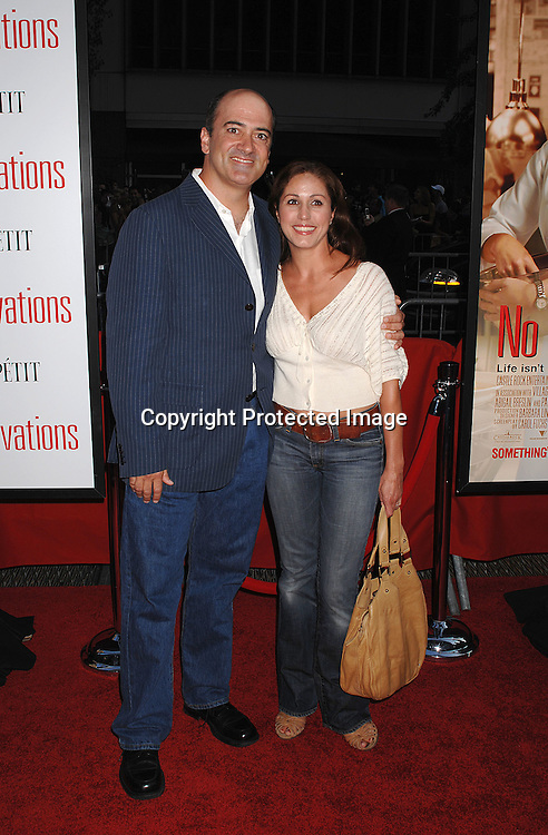 """Matt Servitto and Monica Trombetta, both are in the movie..posing for photographers at The New York Premiere of ..""""No Reservations"""" starring Catherine Zeta-Jones and Aaron Eckhart on July 25, 2007 at The Ziegfeld Theatre in New York. ..Robin Platzer, Twin Images"""