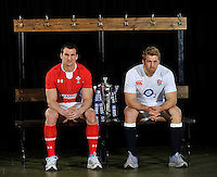 London, England. Sam Warburton of Wales and Chris Robshaw of England pose with the Six Nations trophy during the RBS Six Nations launch at The Hurlingham Club on January 23, 2013 in London, England