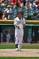 Quintin Berry (19) of the Salt Lake Bees at bat against the El Paso Chihuahuas in Pacific Coast League action at Smith's Ballpark on July 10, 2016 in Salt Lake City, Utah. El Paso defeated Salt Lake 11-2. (Stephen Smith/Four Seam Images)