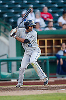 West Michigan Whitecaps outfielder Derek Hill (21) at bat against the Fort Wayne TinCaps on May 23, 2016 at Parkview Field in Fort Wayne, Indiana. The TinCaps defeated the Whitecaps 3-0. (Andrew Woolley/Four Seam Images)