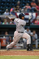 Tampa Yankees catcher Isaias Tejeda (27) at bat during a game against the Lakeland Flying Tigers on April 9, 2015 at Joker Marchant Stadium in Lakeland, Florida.  Tampa defeated Lakeland 2-0.  (Mike Janes/Four Seam Images)