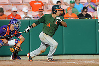 Shortstop Stephen Perez #4 swings at a pitch during a  game against the Clemson Tigers at Doug Kingsmore Stadium on March 31, 2012 in Clemson, South Carolina. The Tigers won the game 3-1. (Tony Farlow/Four Seam Images).