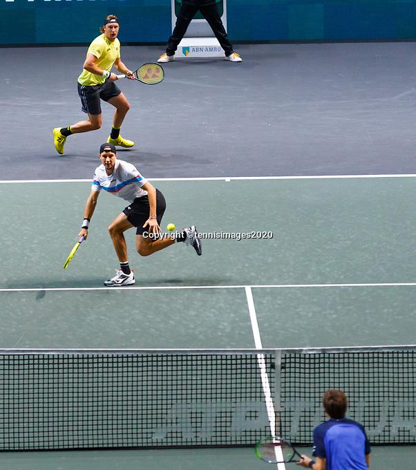 Rotterdam, The Netherlands, 15 Februari 2020, ABNAMRO World Tennis Tournament, Ahoy,<br /> Men's Doubles Final: Men's Doubles Final: Henri Kontinen (FIN) and Jan-Lennard Struff (GER).<br /> Photo: www.tennisimages.com