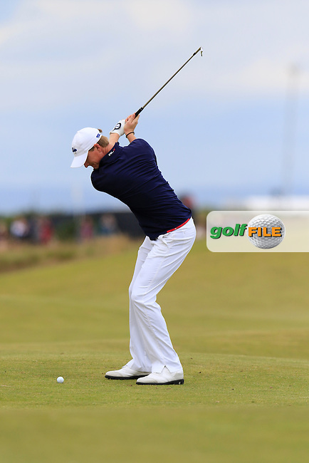 Jordan Niebrugge (AM)(USA) in action during Sunday's Round 3 of the 144th Open Championship, St Andrews Old Course, St Andrews, Fife, Scotland. 19/07/2015.<br /> Picture Eoin Clarke, www.golffile.ie