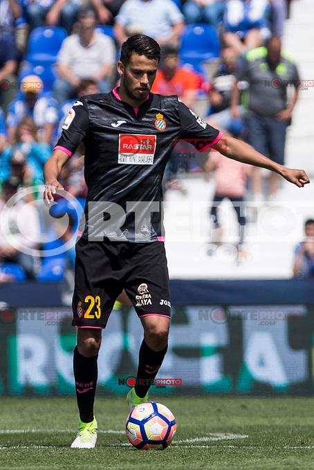 Diego Reyes of RCD Espanyol during the match of La Liga between  Club Deportivo Leganes and RCD Espanyol at Butarque  Stadium  in Leganes, Spain. April 16, 2017. (ALTERPHOTOS / Rodrigo Jimenez)