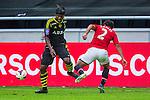 Solna 2013-08-06 Football Friendly Game , AIK - Manchester United FC :  <br /> AIK 9 Martin Kayongo Mutumba i kamp om bollen med Manchester United 2 Rafael <br /> (Foto: Kenta J&ouml;nsson) Nyckelord: