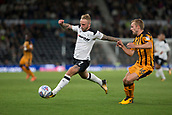 8th September 2017, Pride Park Stadium, Derby, England; EFL Championship football, Derby County versus Hull City; Johnny Russell of Derby County stretches for the ball as Sebastian Larsson of Hull City closes in