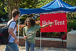 Orientation leader Jada Bates helps freshmen and visitors get to where they need to go.  Photo by Kevin Bain/Ole Miss Communications