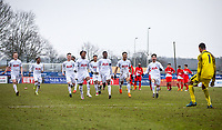 The Spurs U19 players run to celebrate with Goalkeeper Brandon Austin after his save puts them into the QF during the UEFA Youth League round of 16 match between Tottenham Hotspur U19 and Monaco at Lamex Stadium, Stevenage, England on 21 February 2018. Photo by Andy Rowland.