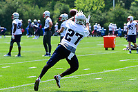June 13, 2017: New England Patriots running back D.J. Foster (27) makes a catch at the New England Patriots organized team activity held on the practice field at Gillette Stadium, in Foxborough, Massachusetts. Eric Canha/CSM