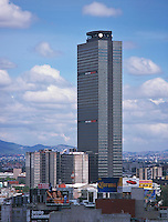 aerial above PEMEX Petróleos Mexicanos headquarters tower Mexico City