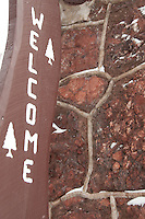 A welcome sign at the Keweenaw Mountain Lodge in Copper Harbor Michigan in winter.
