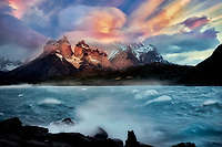 Lake Pahoe with wind waves and Paine Massif mountains.  Torres Del Paine National Park, Chile, Patagonia