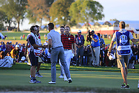 Henrik Stenson (Team Europe) on the 17th green during Saturday afternoon Fourball at the Ryder Cup, Hazeltine National Golf Club, Chaska, Minnesota, USA.  02/10/2016<br /> Picture: Golffile | Fran Caffrey<br /> <br /> <br /> All photo usage must carry mandatory copyright credit (&copy; Golffile | Fran Caffrey)