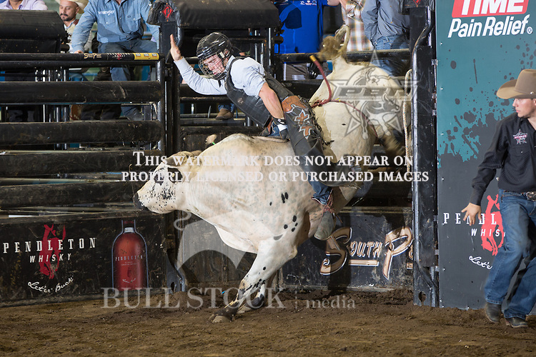 Thor Hoefer II attempts to ride True Story ( Twisted 3 Cattle Co. / Cornwell Bucking Bulls ) during the first round of the PBR Real Time Pain Relief Velocity Tour event in Hartford, CT - Photo by Andre Silva