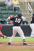 Brett Austin (10) of the Kannapolis Intimidators at bat against the Lakewood BlueClaws at CMC-NorthEast Stadium on July 20, 2014 in Kannapolis, North Carolina.  The Intimidators defeated the BlueClaws 7-6. (Brian Westerholt/Four Seam Images)