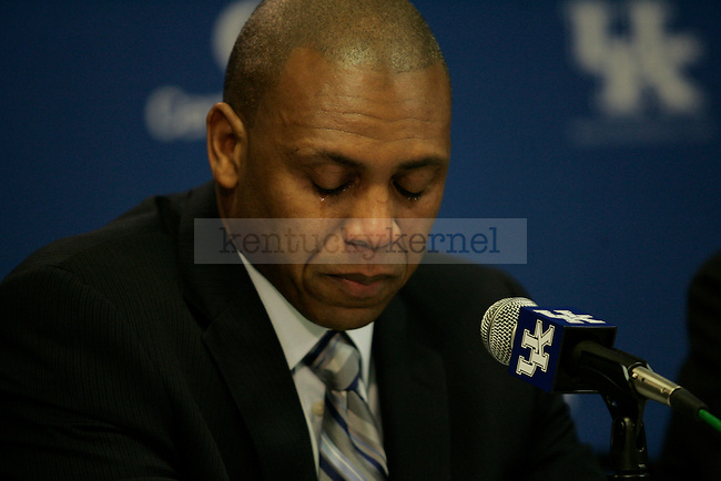 Joker Phillips is named head coach of the UK football team at Commonwealth Stadium on Wednesday, Jan. 6, 2010. Photo by Adam Wolffbrandt | Staff