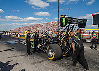 Sep 3, 2016; Clermont, IN, USA; NHRA top fuel driver Brittany Force during qualifying for the US Nationals at Lucas Oil Raceway. Mandatory Credit: Mark J. Rebilas-USA TODAY Sports