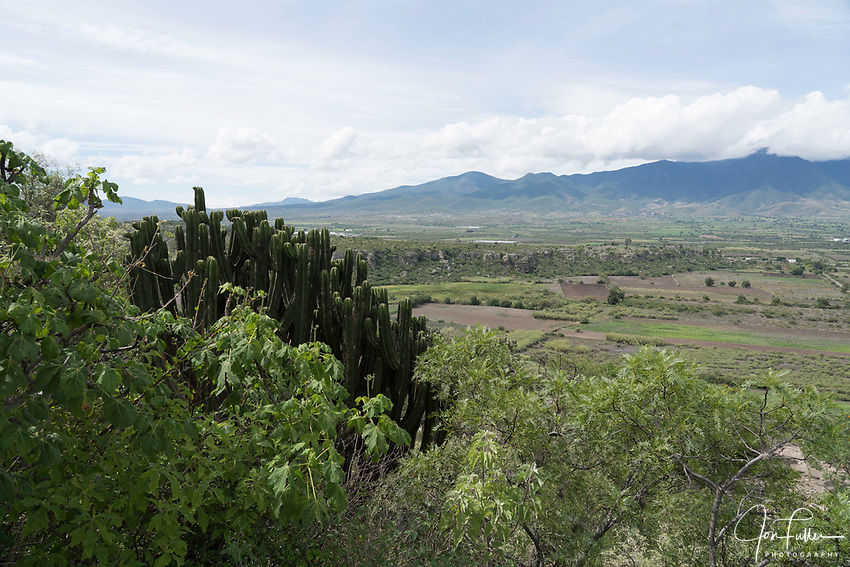 A view of the Tlacolula Valley from the fortress hill at Yagul, Oaxaca, Mexico.