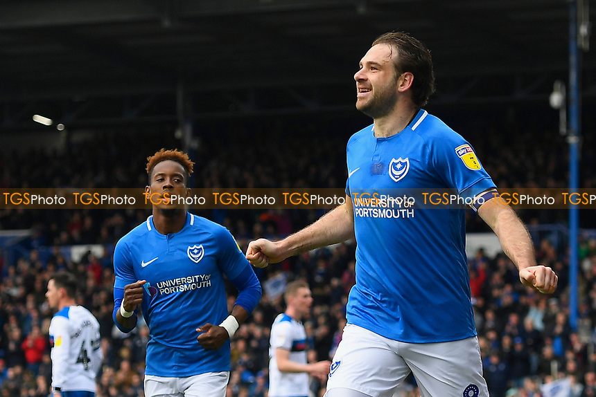 Brett Pitman of Portsmouth celebrates scoring with Jamal Lowe of Portsmouth during Portsmouth vs Rochdale, Sky Bet EFL League 1 Football at Fratton Park on 13th April 2019