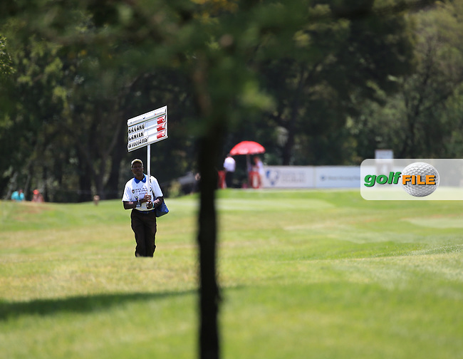 Via down the 4th, with scoreboard carrier, during Round Three of the 2016 BMW SA Open hosted by City of Ekurhuleni, played at the Glendower Golf Club, Gauteng, Johannesburg, South Africa.  09/01/2016. Picture: Golffile | David Lloyd<br /> <br /> All photos usage must carry mandatory copyright credit (&copy; Golffile | David Lloyd)