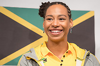Jazmine Fenlator-Victorian of the Jamaican women's bobsleigh team smiles at a press conference in the Alpensia centre prior to the Winter Olympics in Pyeongchang, South Korea, 9 February 2018. Photo: Tobias Hase/dpa /MediaPunch ***FOR USA ONLY***