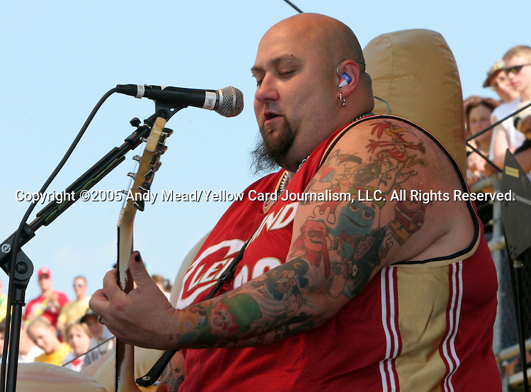 30 July 2005: Lead guitarist Chris Burney of the band Bowling For Soup, who played during half-time. Major League Soccer's All-Stars defeated Fulham FC of the English Premier League 4-1 at Columbus Crew Stadium in Columbus, Ohio in the 2005 Sierra Mist MLS All-Star Game.