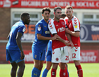 Fleetwood Town's Cian Bolger and Craig Morgan battle for space as they await a corner kick with Wimbledon's Will Nightingale and Adedeji Oshilaja (left) <br /> <br /> Photographer Stephen White/CameraSport<br /> <br /> The EFL Sky Bet League One - Fleetwood Town v AFC Wimbledon - Saturday 4th August 2018 - Highbury Stadium - Fleetwood<br /> <br /> World Copyright &copy; 2018 CameraSport. All rights reserved. 43 Linden Ave. Countesthorpe. Leicester. England. LE8 5PG - Tel: +44 (0) 116 277 4147 - admin@camerasport.com - www.camerasport.com