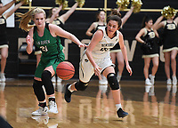 NWA Democrat-Gazette/J.T. WAMPLER Bentonville's Avery Hughes steals the ball from Van Buren's Rylee Ryan Tuesday Feb. 5, 2019 at Tiger Stadium. Bentonville won 73-36 to secure a place in the Class 6A state tournament with five games remaining. Full coverage at http://nwadg.com  #ARPreps