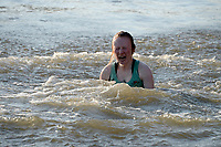 Putney/Mortlake, GREATER LONDON. United Kingdom. 2017 Women's and Men's University Boat Races, held over, The Championship Course, Putney to Mortlake on the River Thames. CUWBC Cox emerges after being &quot;thrown in&quot; Sunday  02/04/2017, <br /> <br /> [Mandatory Credit; Intersport Images]
