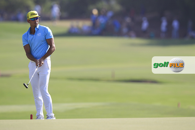 Rafa Cabrera Bello (ESP) on the 18th green during the final round of the DP World Tour Championship, Jumeirah Golf Estates, Dubai, United Arab Emirates. 18/11/2018<br /> Picture: Golffile | Fran Caffrey<br /> <br /> <br /> All photo usage must carry mandatory copyright credit (&copy; Golffile | Fran Caffrey)