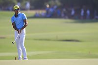 Rafa Cabrera Bello (ESP) on the 18th green during the final round of the DP World Tour Championship, Jumeirah Golf Estates, Dubai, United Arab Emirates. 18/11/2018<br /> Picture: Golffile | Fran Caffrey<br /> <br /> <br /> All photo usage must carry mandatory copyright credit (© Golffile | Fran Caffrey)